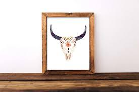 bull skull wall decor fresh cow head print boho art horns