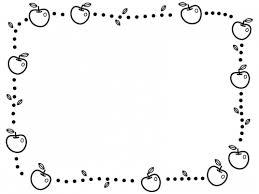 りんごと葉っぱの白黒点線囲みフレーム飾り枠イラスト 無料イラスト