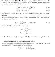 The Mes Potential Formulation Of The Mes In The Lorentz G Chegg Com