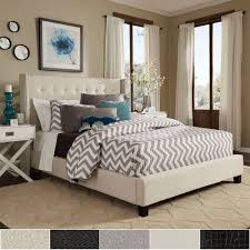 Marion Nailhead Wingback Tufted Upholstered Platform Bed by iNSPIRE Q Bold  - Free Shipping Today - Overstock.com - 16672216