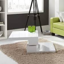 square rotating top white high gloss coffee table