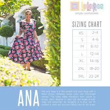 Lularoe Ana Dress Sizing Chart In 2019 Lularoe Sizing