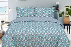 teal grey geometric duvet set deal
