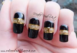 Make Nail Art: Black And Gold Cut Out Nail Art Design Tutorial