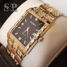 elgin mens gold watch new men elgin luxury gold tone bling lab diamond stainless steel bracelet watch