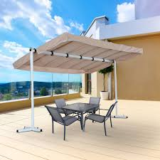 outsunny 12 x8 free standing manual retractable awning outdoor gazebo garden sunshade canopy beige