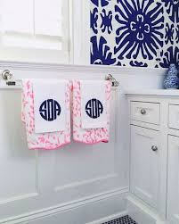 monogrammed paper hand towels bathroom. blue and white : preppy bathroom the zhush wallpaper: \u0027sigourney\u0027 by quadrille monogrammed paper hand towels n