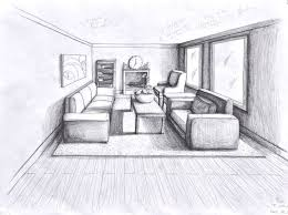 One Point Perspective Drawing Living Room Drawn Room Perspective Pencil And  In Color On One Point