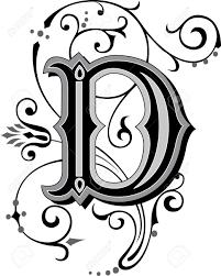 美しく装飾された英語のアルファベット文字 D
