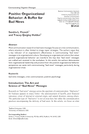 positive organizational behavior a buffer for bad news pdf positive organizational behavior a buffer for bad news pdf available