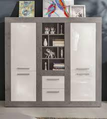 Highboard Pure Hochglanz Weiß Mit Stone Design Wohn Esszimmer Schrank 170 X 164 Cm