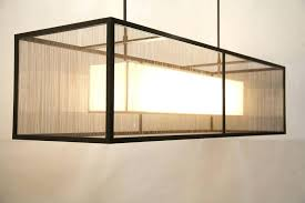 rectangular fabric chandelier with shade drum linen rectangle black iron and cha