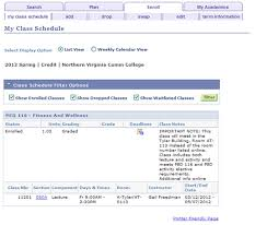 View Your Class Schedule Northern Virginia Community College