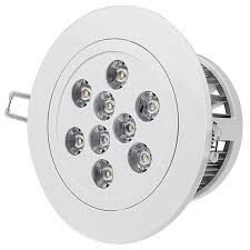 recessed led can light fixtures lighting round shape white colored cover nine led alumunium cooler back