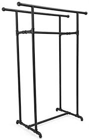 double rail clothes rack. Double Rail Pipe Clothing Rack With Knobs At End For Clothes