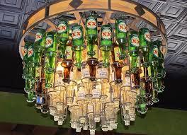 hanging beer bottle chandelier