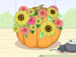 image titled decorate. Plain Titled Sunflower Pumpkin Carving Image Titled Decorate A Without It Step Patterns With