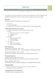 012 High School Graduate Resume Template No Experience Ideas