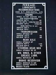 Details About Ferrari 250 Gt Lubricant Data Tag Chart Plate Shell 250 Berlinetta 4 9