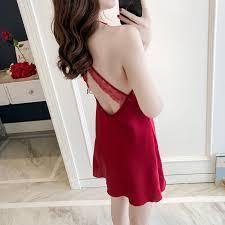 <b>Daeyard Fashion Silk Nightgown</b> Women Sexy Lace Patchwork ...