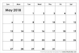 May 2018 Calendar Printable 30 Day Calendar