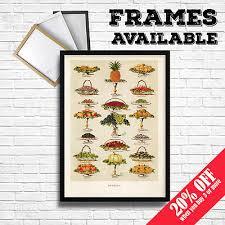 Superior FRUITS Print, Vintage Food Posters Botanical Home Kitchen Restaurant Cafe  Decor