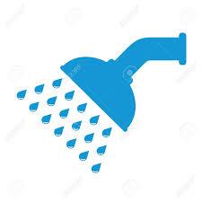 shower head clip art. Shower Head In Bathroom With Water Drops Flowing. Blue. Vector Illustration. Flat Design Clip Art