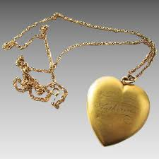 huge victorian gold filled heart locket katherine inscribed name matte village green antiques ruby lane