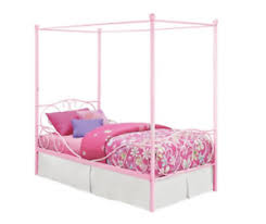 Princess Bed Frame Twin Size Canopy Kids Furniture Pink Metal Girls ...