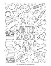Color pictures of snowflakes, hats & mittens, snowmen, chilly penguins and more! Winter Coloring Pages Free Printable Pdf From Primarygames