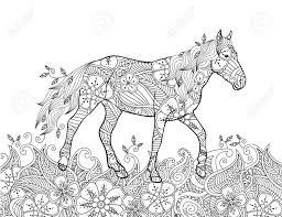 Kleurplaat In Geïnspireerde Doodle Stijl Lopend Paard Op Bloeiende