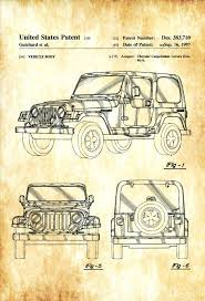 jeep wrangler patent print wall decor automobile art front end