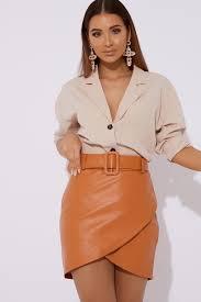 lyndah orange belted faux leather skirt