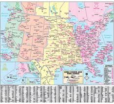 United States Area Code And Time Zone Wall Map America
