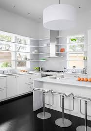 White Kitchens Dark Floors Decoration Modern White Kitchen With Dark Floor And Nice Hood