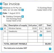 Tax Invoice Layout New Issuing Tax Invoices Australian Taxation Office