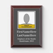 Employee Of The Month Award Gray Employee Of The Month Portrait Award Plaque