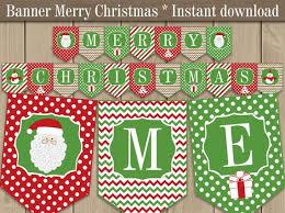 Merry Christmas Banner Printable Christmas Holiday Banner Red Green Christmas Pennant Banner Christmas Decorations Diy Printable