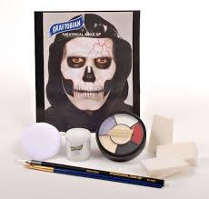 agent skully bee a skeletal grim reaper with help from graftobian s plete skull makeup kit