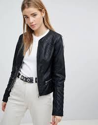 pimkie collarless leather look biker jacket collarless design black 1248176 dmtbqjn