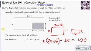 edexcel june 2016 q23 forming solving quadratic equations