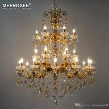 luxurious crystal chandelier large elegant golden silver color crystal chandeliers light fixture for hotel restaurant foyer home chandelier crystals