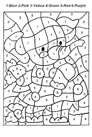 Pleasant Kindergarten Color By Number Christmas Worksheets With