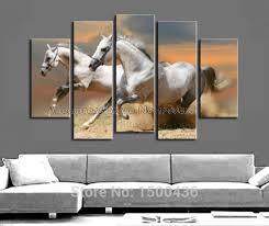 runing muscular two white horse painting five panel abstract wall art horses large electric image