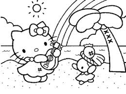 Coloring Pages Of Hello Kitty Playing Music Coloring Coloring Home