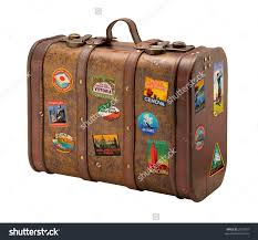 Old Suitcases Old Suitcase Travel Stickers Isolated Clipping Stock Photo 2537857