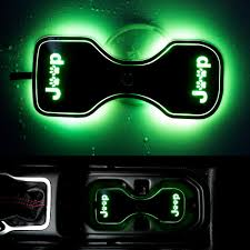 Sunpie Led Lights Sunpie Led Cup Holder Lights With Dog Paw For Jeep Wrangler Jl Unlimited 2018 2019 Cup Holder Inserts Coaster Mat Pad With Color Changing Lights