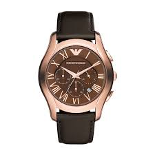 emporio armani men s chronograph rose gold plated and brown image