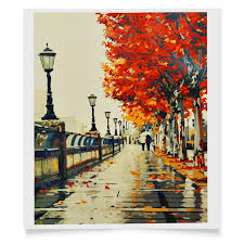 frameless cherry blossoms road diy oil painting by handpainted fall diy acrylic paint