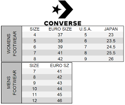 Converse One Star Size Chart Converse Size Chart Gallery Of Chart 2019